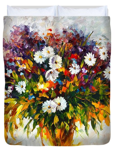 Lilac And Camomiles Duvet Cover by Leonid Afremov
