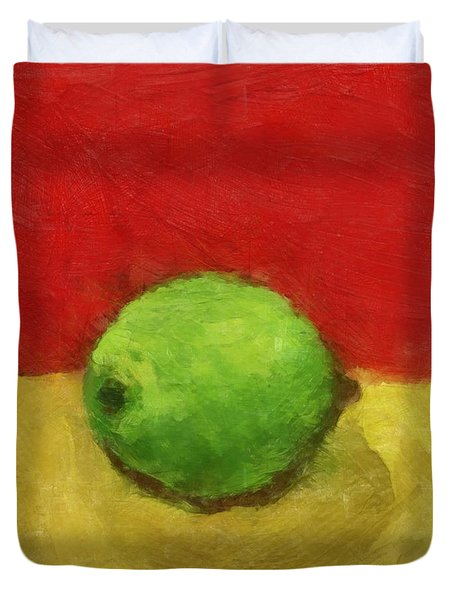 Lime With Red And Gold Duvet Cover