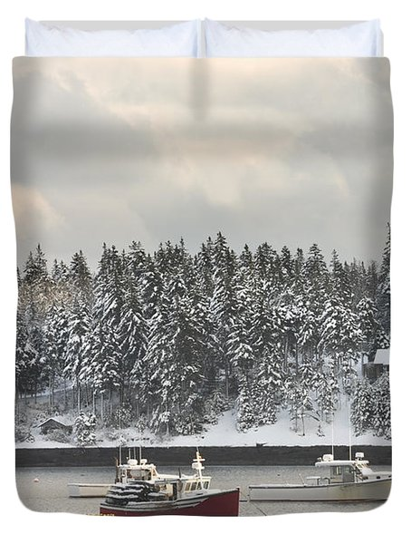 Lobster Boats After Snowstorm In Tenants Harbor Maine Duvet Cover by Keith Webber Jr