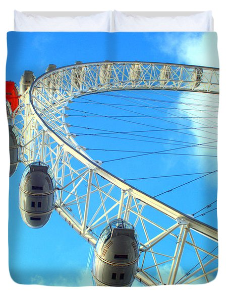 Duvet Cover featuring the photograph London Eye by Rachel Mirror