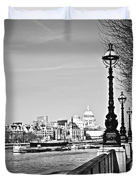London View From South Bank Duvet Cover by Elena Elisseeva
