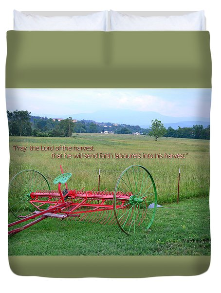 Duvet Cover featuring the photograph Lord Of The Harvest by Larry Bishop