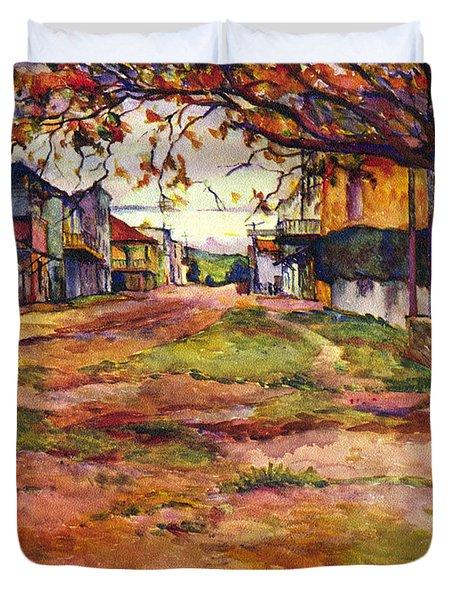 Main Street Of Early Spanish California Days San Juan Bautista Rowena M Abdy Early California Artist Duvet Cover