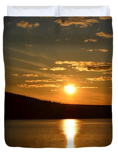 Duvet Cover featuring the photograph Maine Sunset by James Petersen