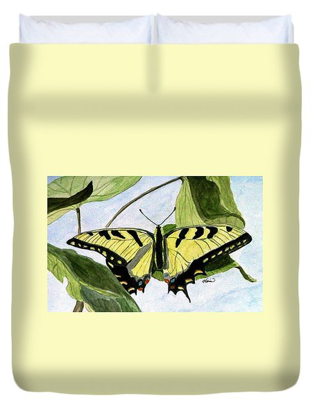 Duvet Cover featuring the painting Male Eastern Tiger Swallowtail by Angela Davies