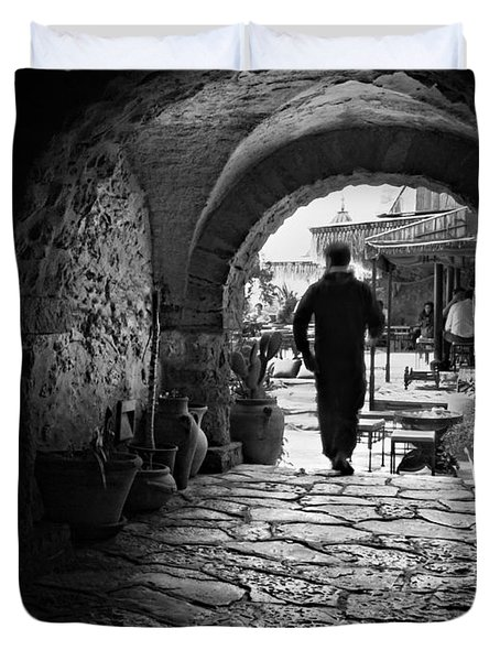Duvet Cover featuring the photograph Man In An Archway / Hammamet by Barry O Carroll