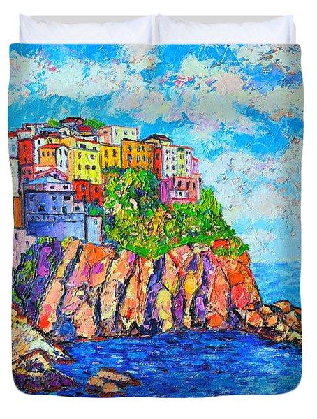 Manarola Cinque Terre Italy  Duvet Cover by Ana Maria Edulescu
