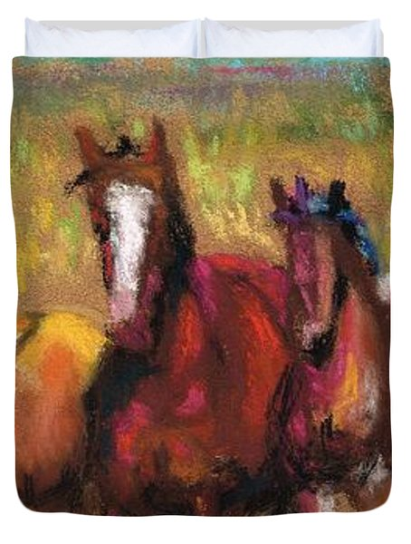 Mares And Foals Duvet Cover by Frances Marino