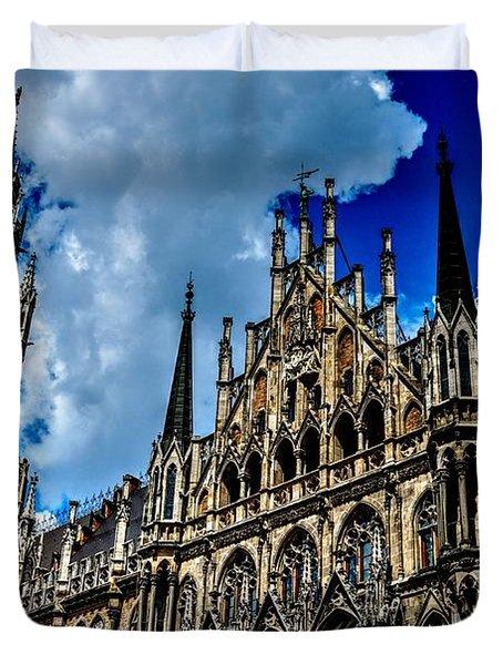Duvet Cover featuring the photograph Marienplatz In Munich by Joe  Ng
