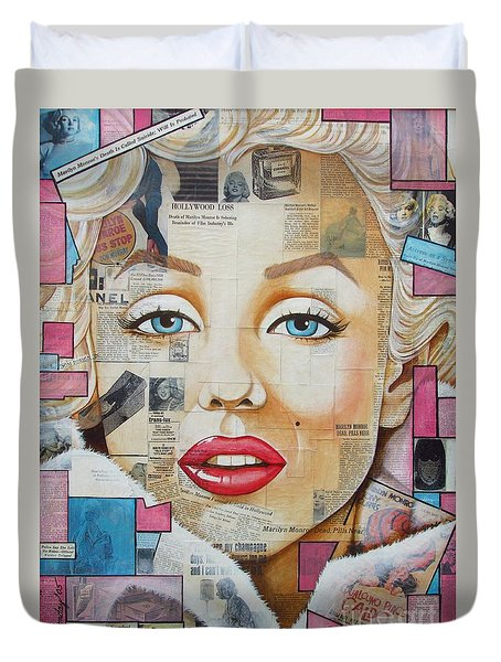 Marilyn In Pink And Blue Duvet Cover by Joseph Sonday