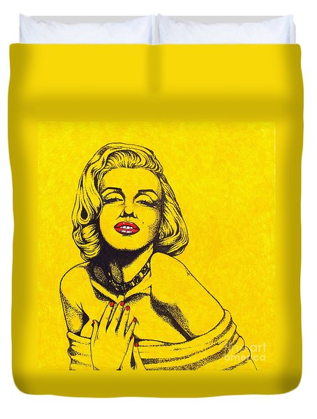 Marilyn In Yellow Duvet Cover by Joseph Sonday