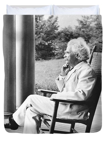 Mark Twain On A Porch Duvet Cover by Underwood Archives