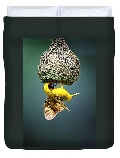 Masked Weaver At Nest Duvet Cover