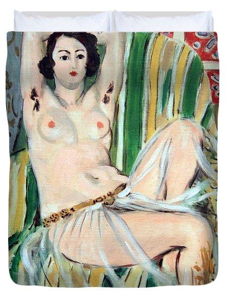 Matisse's Odalisque Seated With Arms Raised In Green Striped Chair Duvet Cover