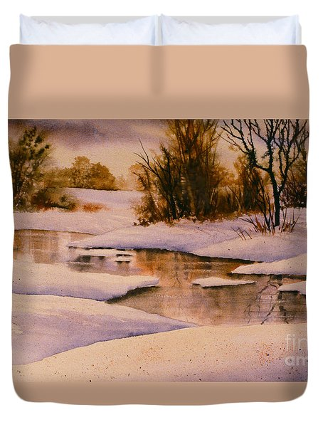 Duvet Cover featuring the painting Meandering Stream by Teresa Ascone