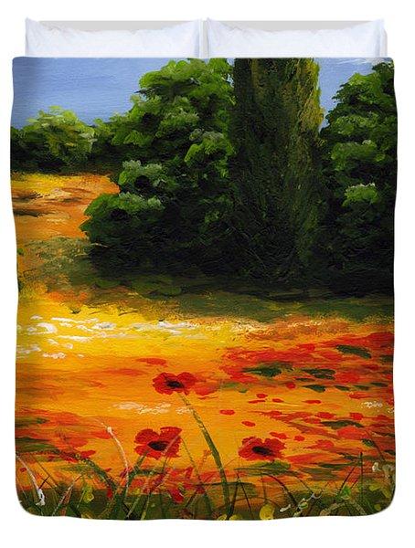 Mediterranean Landscape Duvet Cover by Edit Voros