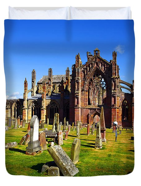 Duvet Cover featuring the photograph Melrose Abbey Scotland by Craig B
