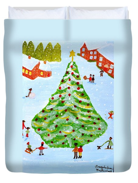 Duvet Cover featuring the painting Merry Christmas by Magdalena Frohnsdorff