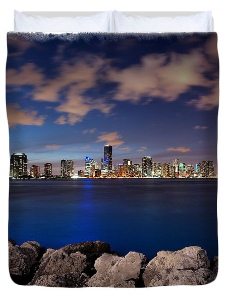Duvet Cover featuring the photograph Miami Skyline At Night by Carsten Reisinger