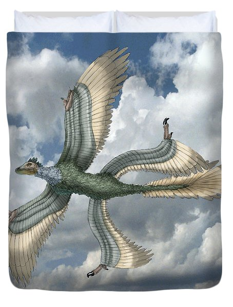 Microraptor Duvet Cover by Spencer Sutton