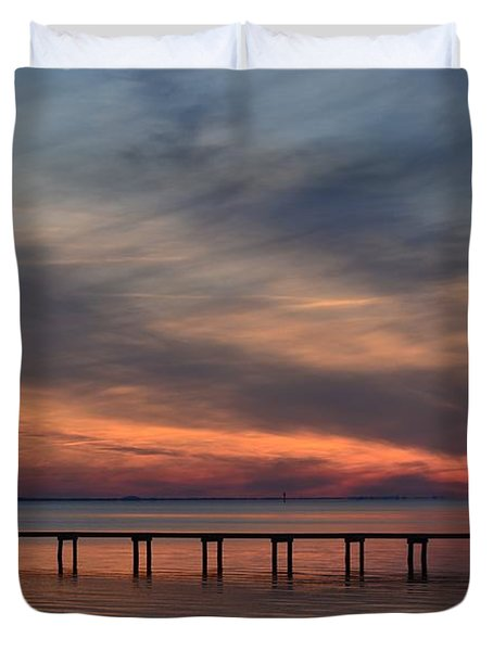 Mirrored Sunset Colors On Santa Rosa Sound Duvet Cover by Jeff at JSJ Photography