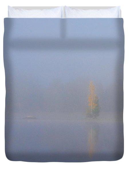 Misty Morning On A Lake Duvet Cover
