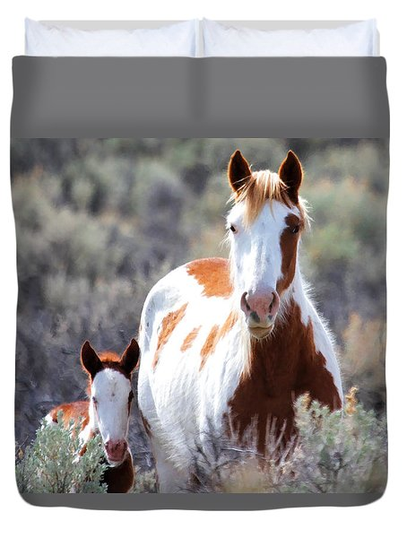 Momma And Baby In The Wild Duvet Cover by Athena Mckinzie