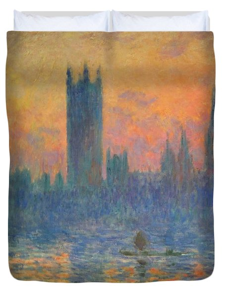 Monet's The Houses Of Parliament At Sunset Duvet Cover by Cora Wandel