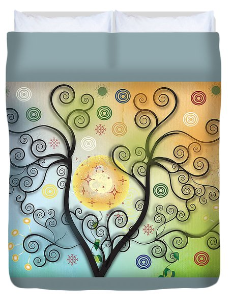 Duvet Cover featuring the digital art Moon Swirl Tree by Kim Prowse