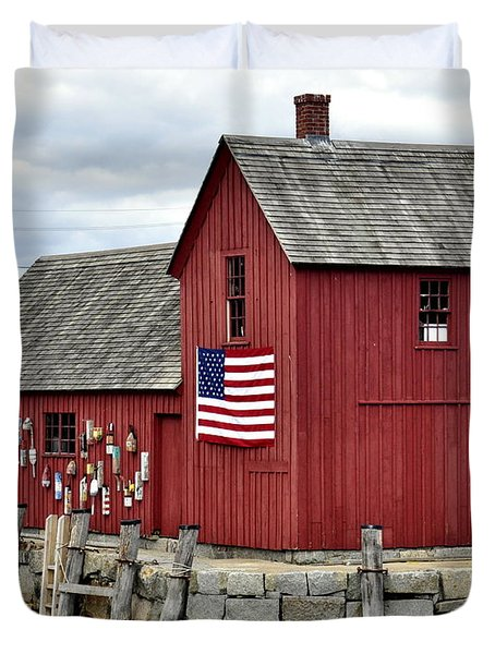 Duvet Cover featuring the photograph Motif  Rockport Ma by Caroline Stella