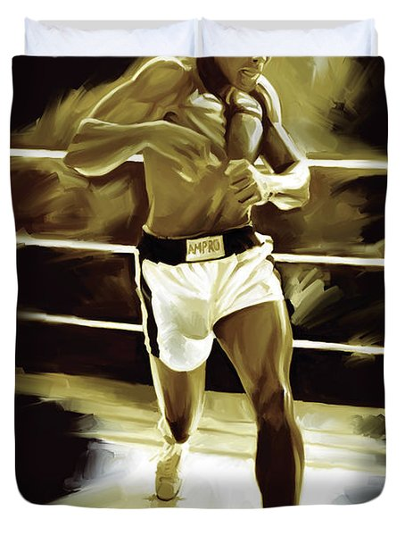 Muhammad Ali Boxing Artwork Duvet Cover by Sheraz A