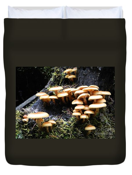 Duvet Cover featuring the photograph Mushrooms On A Stump by Chalet Roome-Rigdon