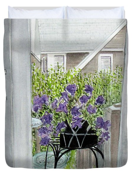 Duvet Cover featuring the painting Nantucket Room View by Carol Flagg