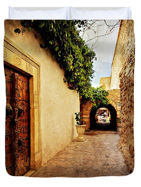 Duvet Cover featuring the photograph Narrow Street In Souk / Hammamet by Barry O Carroll