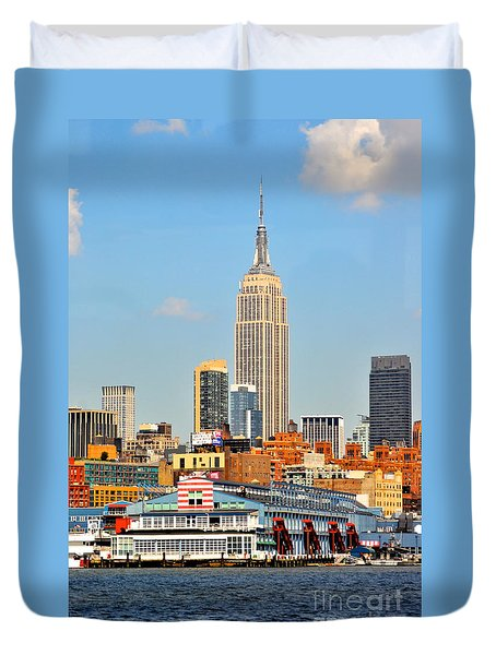 New York City Skyline With Empire State Duvet Cover