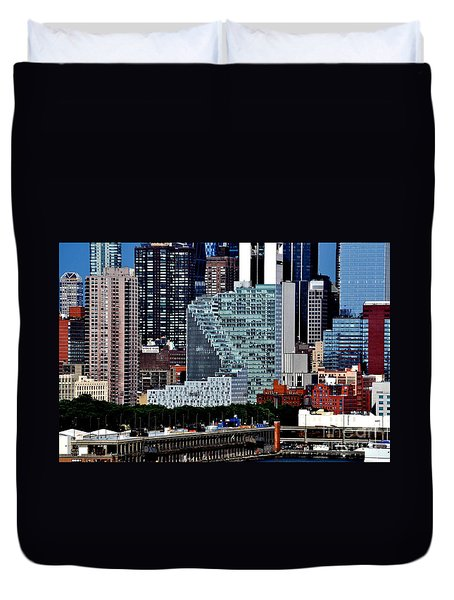 New York City Skyline With Mercedes House Duvet Cover