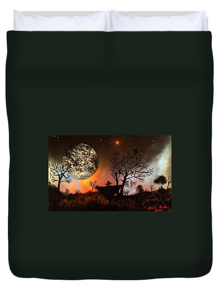 Night Of The Scarecrow  Duvet Cover by Michael Rucker