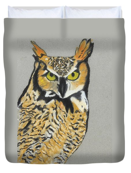 Duvet Cover featuring the painting Night Owl by Jeanne Fischer