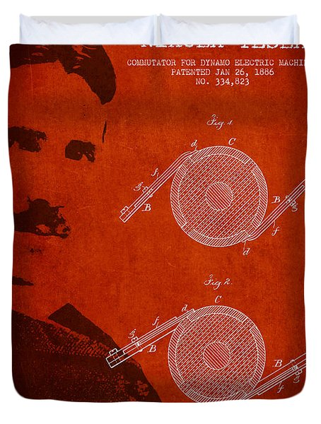 Nikola Tesla Patent From 1886 Duvet Cover by Aged Pixel
