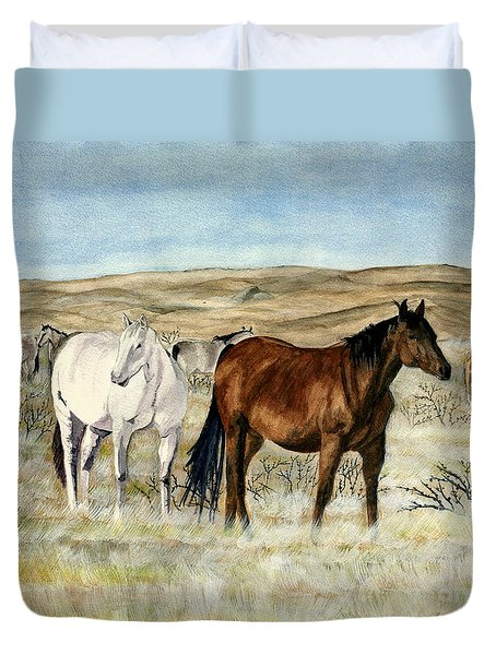 Nine Horses Duvet Cover by Melly Terpening