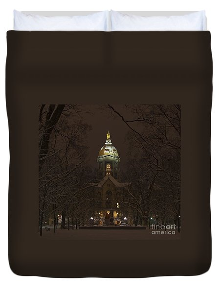 Notre Dame Golden Dome Snow Duvet Cover by John Stephens
