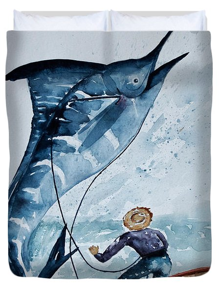 Old Man And The Sea Duvet Cover by Barbara McMahon