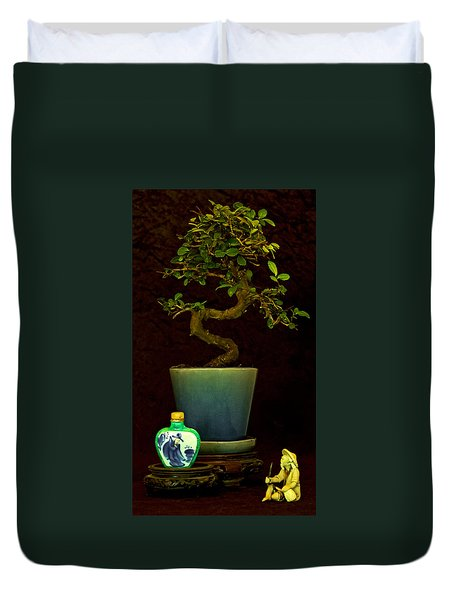 Old Man And The Tree Duvet Cover by Elf Evans