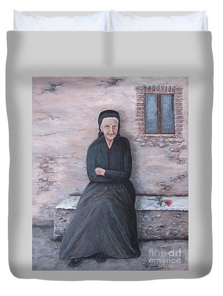 Duvet Cover featuring the painting Old Woman Waiting by Judy Kirouac