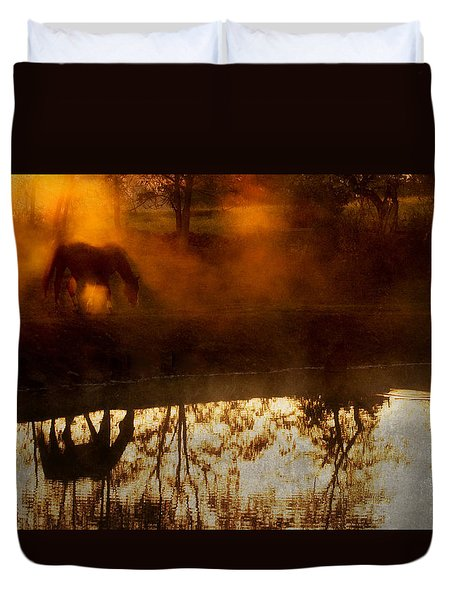 Duvet Cover featuring the photograph Orange Mist by Joan Davis