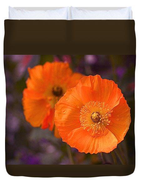 Orange Poppies Duvet Cover by Rona Black