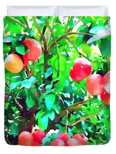 Orange Trees With Fruits On Plantation Duvet Cover by Lanjee Chee