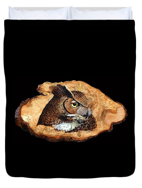 Owl On Oak Slab Duvet Cover