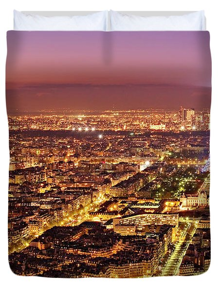 Duvet Cover featuring the photograph Paris Cityscape At Night / Paris by Barry O Carroll
