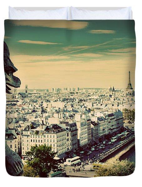Paris Panorama France Duvet Cover by Michal Bednarek